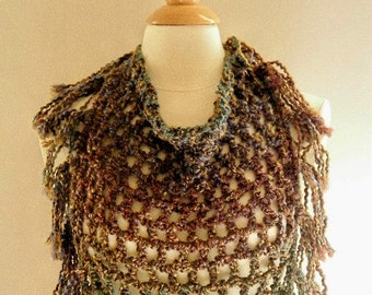 Crocheted Womens Brown with Fall Colors Triangle Scarf with Fringe