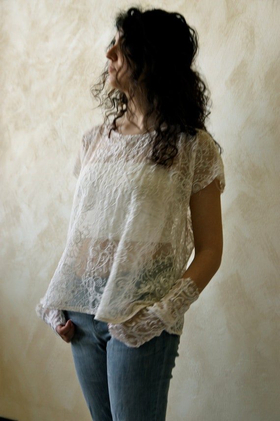 White lace tunic T shirt with cuffs - women's t shirt