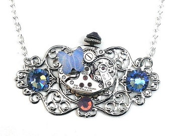 Steampunk Crystal Butterfly Necklace