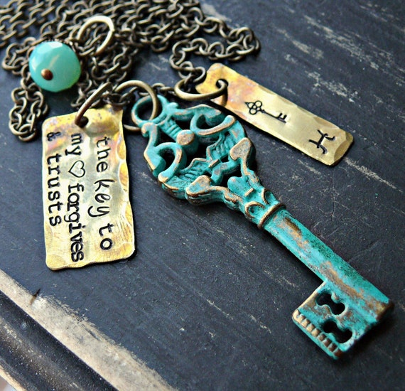 Hand-stamped customized key necklace