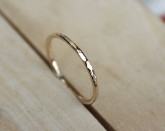 14k SOLID Gold hammered ring, 14K yellow gold, solid textured band,