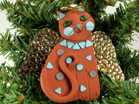 Angel Cat Southwestern Ornament for Christmas, polymer clay with a touch of Sedona Arizona Red Rock, handmade