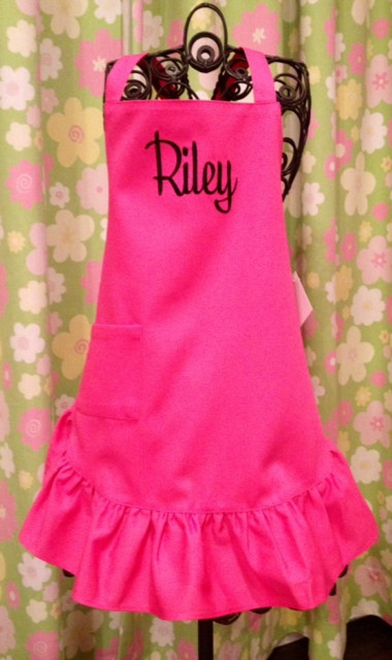 Personalized Monogrammed Child Ruffled Apron in Hot Pink