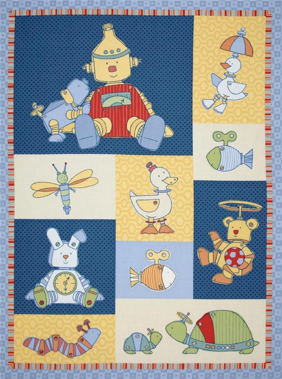 An Adorable Bot The Buddies Robot Fabric Panel Free US Shipping