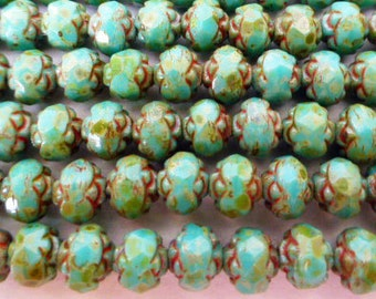 25 Czech Glass Fire Polish Rosebud Beads in Opaque Green Turquoise  6mm size