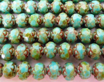 100 Czech Glass Fire Polish Rosebud Beads in Opaque Green Turquoise  6mm size