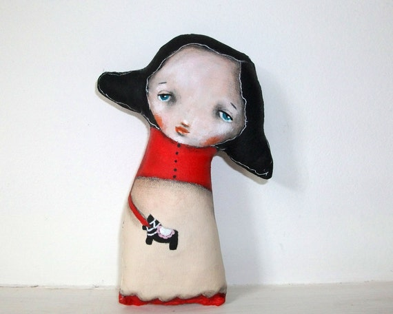 Whimsical art folk art doll red original horse painting Mixed media art doll soft sculpture - Erika
