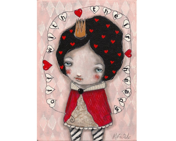 Whimsical painting folk art painting The queen of hearts wonderland painting Mixed media painting on wood - Off With Their Heads