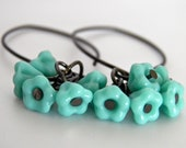 Turquoise Flower Earrings, Glass Mini Bell Flowers With Dark Antiqued Brass Ear Wires