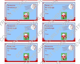 Santa Holiday Christmas Gift Tags / Instant Download Red & Aqua Holiday Printable Gift Tags