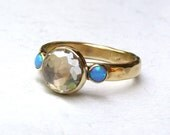 Handmade Engagement Ring ,Lab created Diamond ring ,Engagement wedding ring, Opal ring ,statement, 14k gold ring ,Promise Rings, Solitaire
