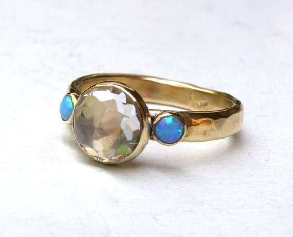 Engagement Ring Similar diamond ring -whiteTopaz ring  and tiny Blue Opals ring - Recycled 14k gold ring MADE TO ORDER
