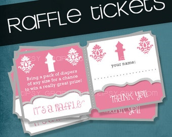 Pink Firetruck. Printable Diaper or Bring a Book Raffle Tickets by Tipsy Graphics. Any colors and text.