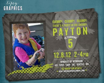Chomp. There's a Party In the Swap. Alligator. Reptile Chevron Birthday Party Invite for Big Kids by Tipsy Graphics