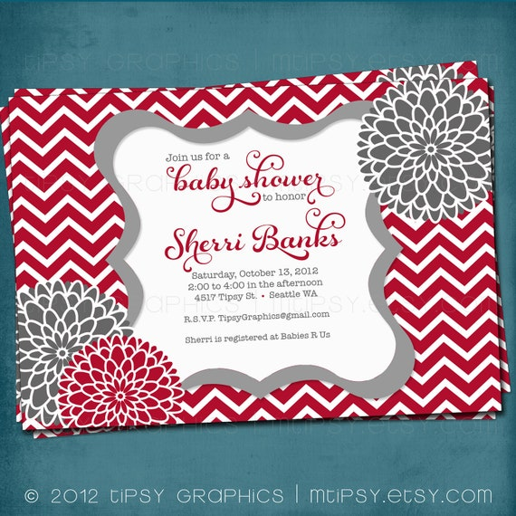 Chevron Mums Baby / Bridal Shower Invite. Red Gray White.  Any colors and text. Spa Pom Pom. DiY Printable by Tipsy Graphics.
