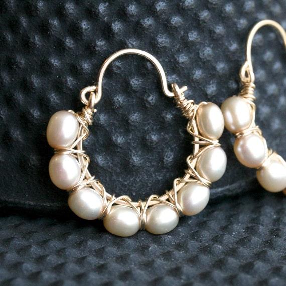 Handmade pearl hoops, pearl earrings, golden champagne, 14k gold filled, wire wrapped, hoop earrings, Mimi Michele Jewelry