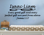 Every Good Gift and Every Perfect Gift James 1:17 Nursery Bible Verse Vinyl Wall Decal
