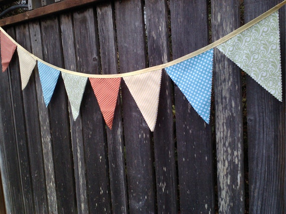 Bunting Flags  Coral, Yellow, Aqua, Sea Foam Green,  Pennant Flag, Party Buntings, Room Decor