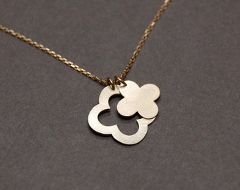 Solid 10K Gold Lucky Clover Necklace