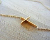 14K  Yellow Gold Sideway  Cross Necklace, Gold Necklace, Cross Necklace, Gold Cross