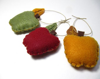 Apple Ornament, Trio of Apples, Felt Christmas Ornament , Fall Harvest Ornament, Teacher Appreciation Gift, Autumn Apple Decorations