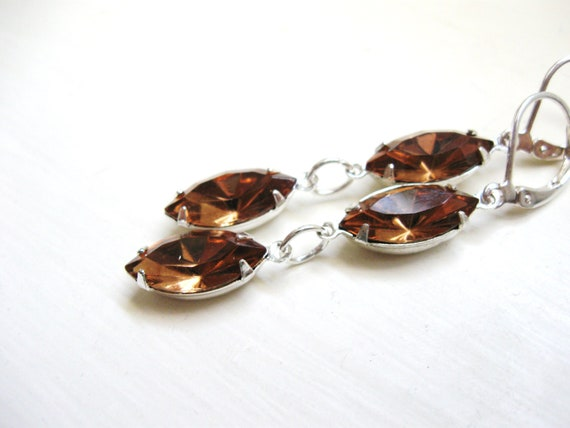 Smokey Topaz earrings in silver  - Estate Jewelry - Wedding Bridal Earrings