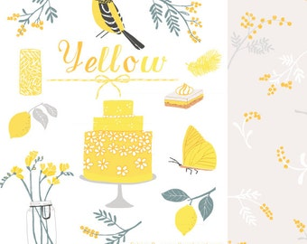 CLIP ART and Patterns - Yellow - for commercial and personal use