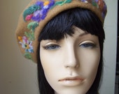 Tan Wool Beret with Hand Needle Felting