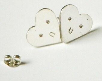 Heart Stud Earrings, Sterling Silver, Handmade