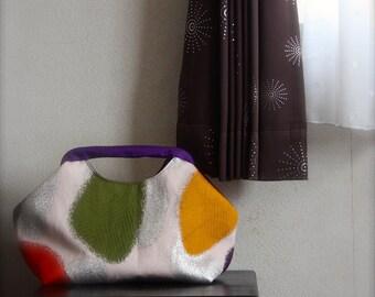 Obi, Kimono, Purse / PK310 Oval Dots Pattern Spring Handle Bag