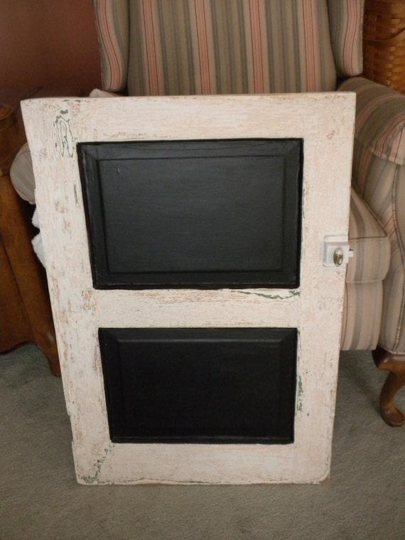 Antigue Door Chalkboard : Items similar to vintage white cabinet door chalkboard