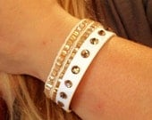 Studded Swarovski Crystal Faux Leather Buckle Bracelet Choose your colors FREE SHIPPING Bangle Cuff Gold Black White Turquoise Glam