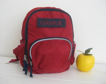 Personalized Mini Backpack Pottery Barn -- Red/Navy Fairfax