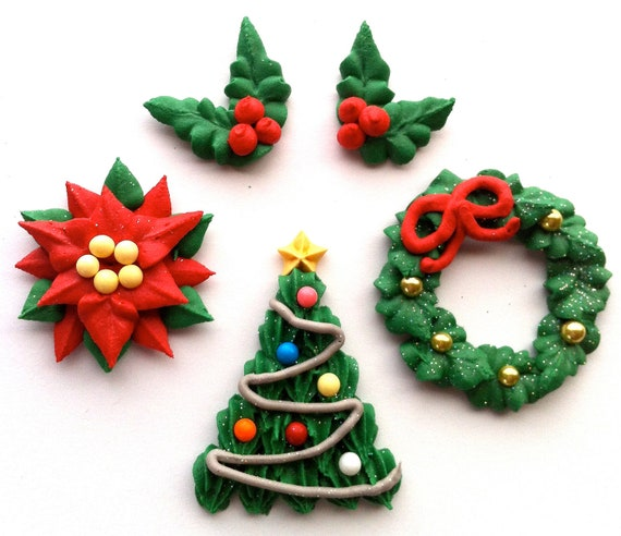 Items similar to Poinsettia Royal Icing Decorations- Great ...