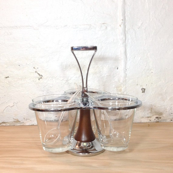 Mid Century Condiment Caddy With Spoons Wood Metal Glass Containers