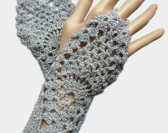 Silver Crochet Fingerless Gloves Mittens, Wedding Bridal Hand Jewelry Fishnet Woman For her