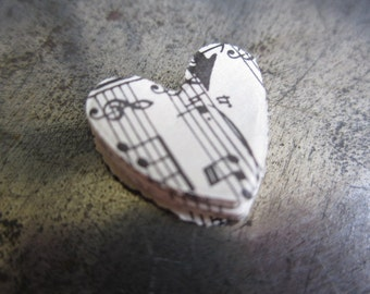 Music small paper hearts (20) Victorian elegant shabby chic style vintage music paper small hearts