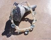 Wedding Bracelet of Swiss Blue Topaz Quartz and Pearls.