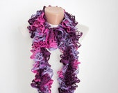 Ruffle Scarf, Knitted Scarves, Purple, Pink, Knit Scarf,Knitting Frilly Accessories, Lace Scarf, Sashay, Women Neckwarmer, colorful
