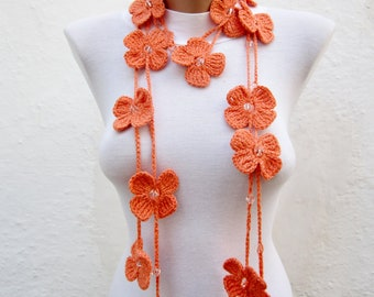 Hand crochet Lariat Scarf Orange Flower Lariat Scarf Long Necklace Holiday Accessories
