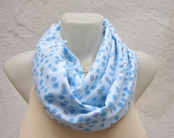 Polka Dot Scarf, infinity Scarves, Fabric Necklace Accessories, Circle Tube Scarf, Eternity Neckwarmer, Christmas Gift, Blue Grey White
