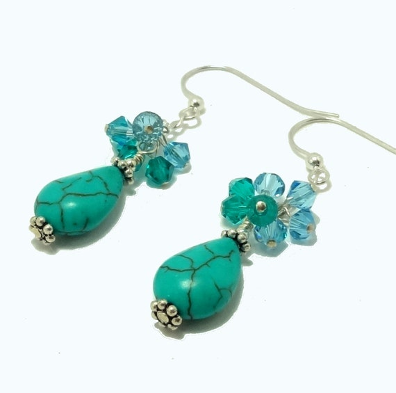 Earrings Turquoise Crystal Sterling Silver - Summer Breeze