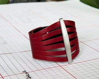 Flare Red Women's Leather Cuff Bracelet - Mother's Day Gift