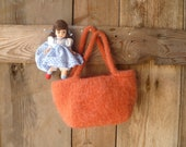 orange flower girl basket, small purse // hand knit and felted