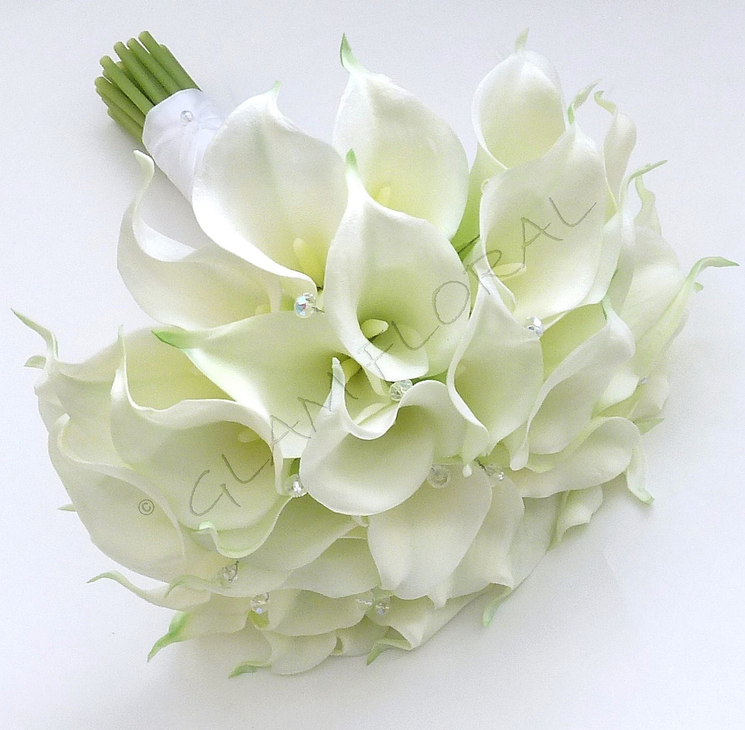 Lily Flower Wedding Bouquet: RESERVED For LILIA Real Touch White Calla Lily & Royal Blue