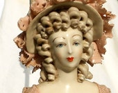 Vintage Cordey Hollywood Regency Lamp, Lady Bust Figurine Corday with porcelain lace Old World European decor