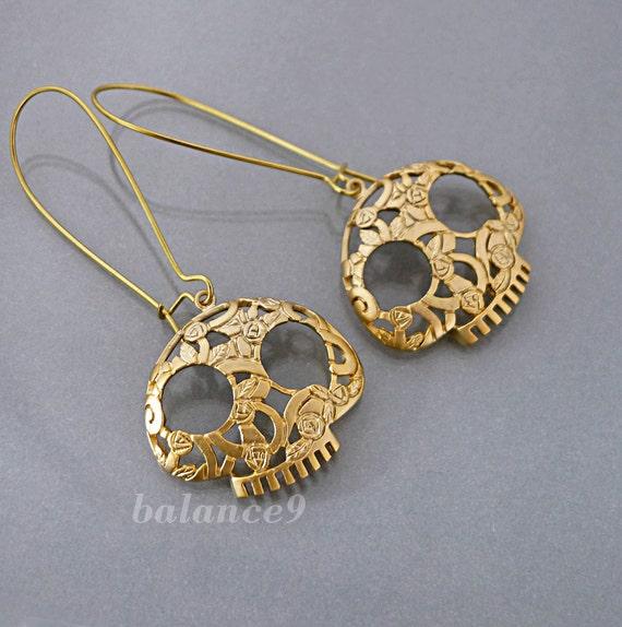 Gold Skull Earrings, sugar skull charm drop kidney dangle, halloween jewelry gift, dia de los muertos, flower skull, by balance9