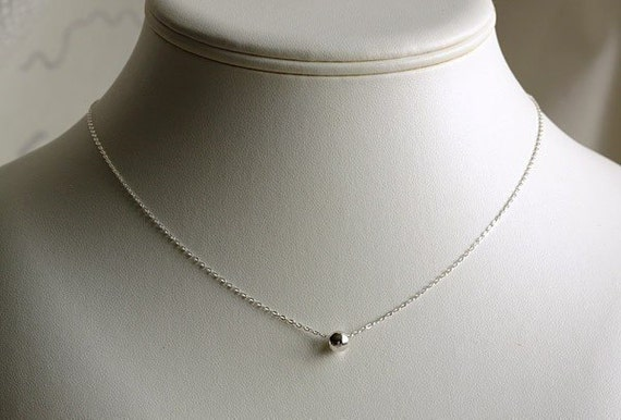 tiny dot necklace sterling silver necklace minimalist small