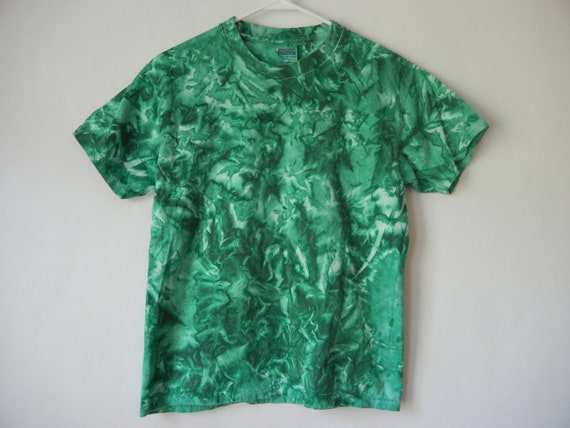 Vintage Tie Dyed Shirt, Green, Youth Large, XS-Small, Raver, Club Kid, Seapunk