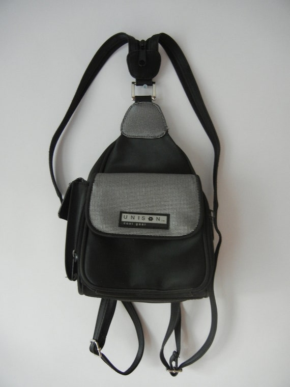 Vintage 90's Mini Backpack, Black and Silver, Raver, Club Kid, Tumblr, Rad, Vegan, Vinyl